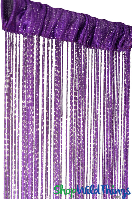 Dark Purple String Curtain with Metallic Thread 6.5' Long Fringe Panel for Doors and Windows by ShopWildThings.com