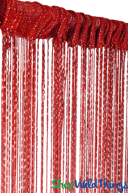 String Curtain - Red w/Metallic Thread - 3' x 6.5'