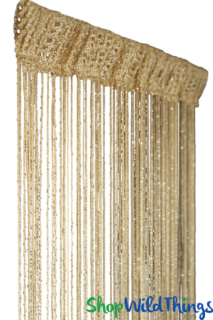 Honey Blonde String Curtain with Metallic Thread 6.5' Long Fringe Panel for Doors and Windows by ShopWildThings.com