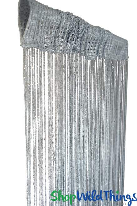 Silver Gray String Curtain with Metallic Thread 6.5' Long Fringe Panel for Doors and Windows by ShopWildThings.com