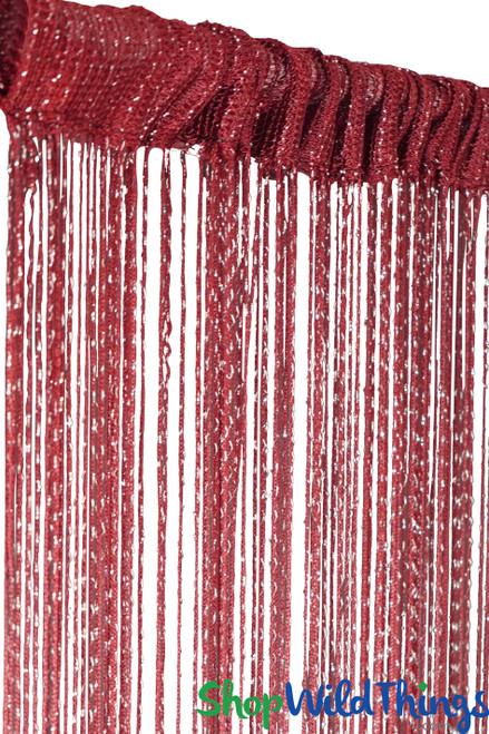 String Curtain - Dark Red Wine w/Metallic Thread - 3' x 6.5'