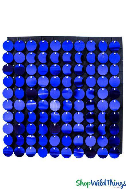 "Shimmer Sequin Wall Backdrop Panel 12""x12"" - Metallic Royal Blue"