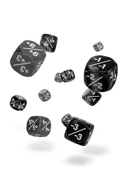 D6 Dice 12 mm Marble/Gemidice Positive & Negative - Black (14)