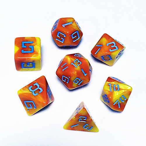 LP Dragon Mottled Red and Yellow with blue Poly Dice
