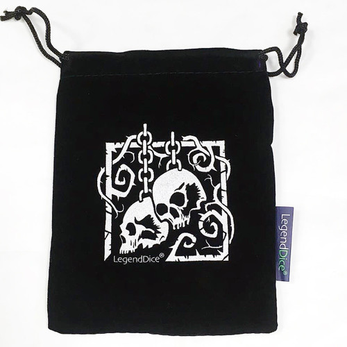 Skull Dice Bag, Black with Silver