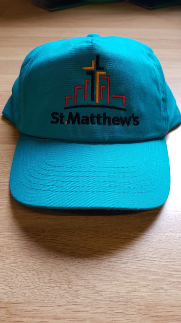 St. Matthew's Jade Embroidered Cotton Cap