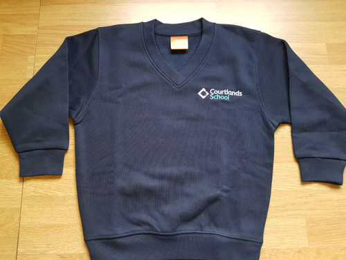 Child's size Courtlands Embroidered Navy V-Neck Sweatshirt.