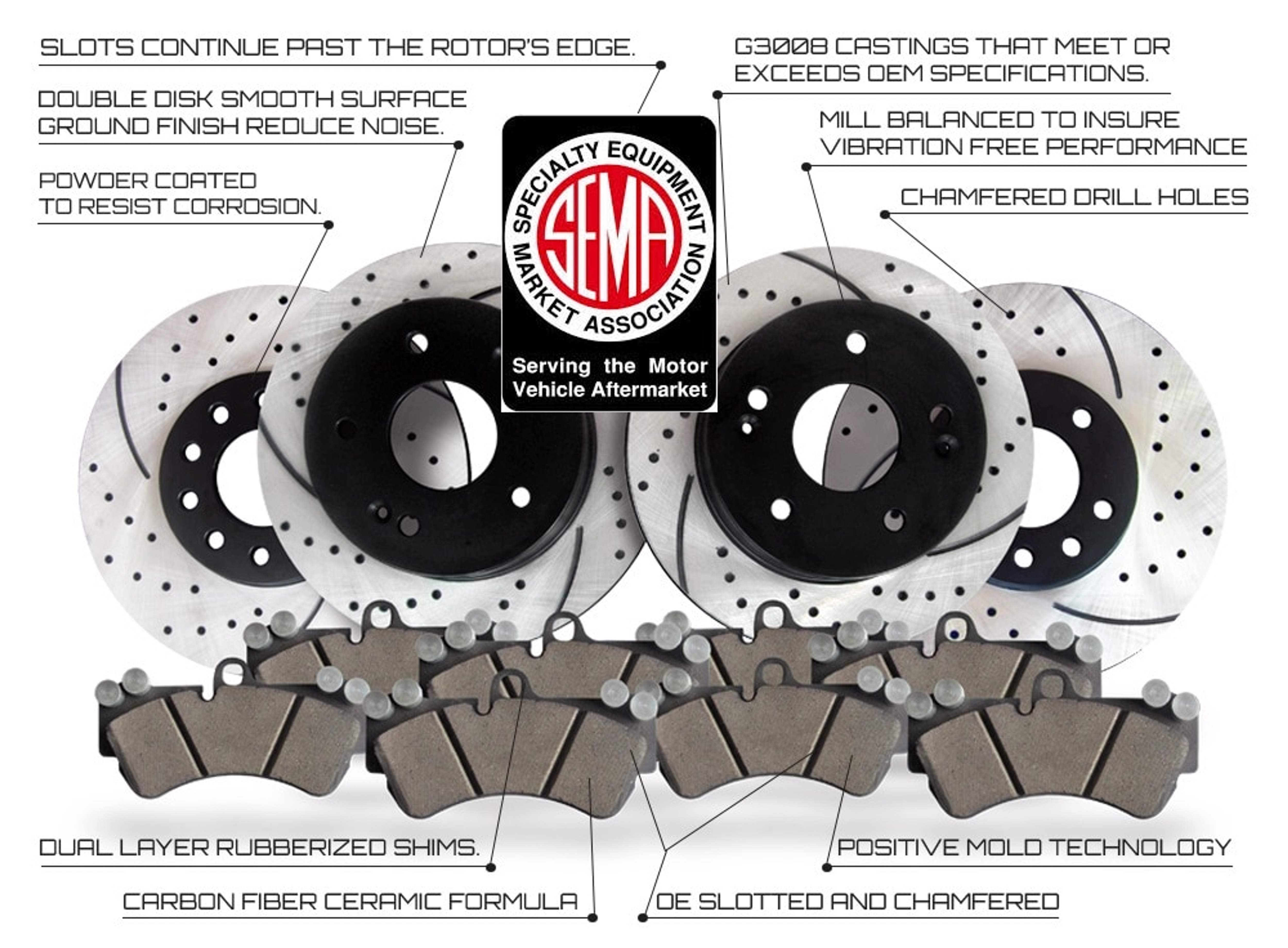 Rotors Only Front and Rear Premium Performance Brake Rotors Drilled /& Slotted