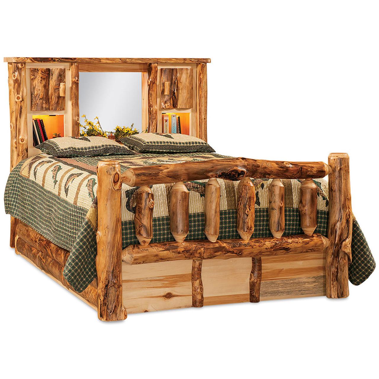 Queen Bookcase Storage Bed W Lights Amish Furniture