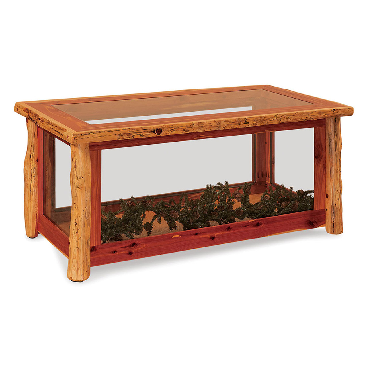 - Rustic Red Cedar Glass Coffee Table Cherry Valley Furniture