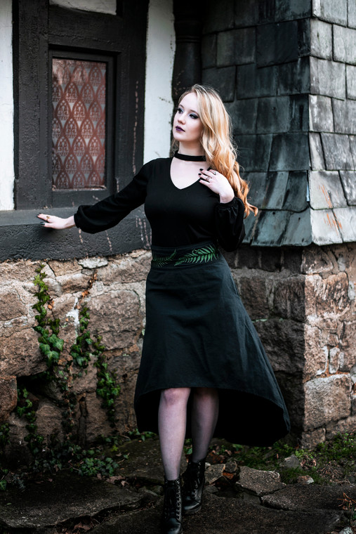 High Low Skirt with fern embroidery.