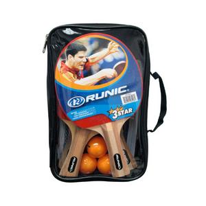 Set of 3 ping pong paddles and 3 balls (orange)