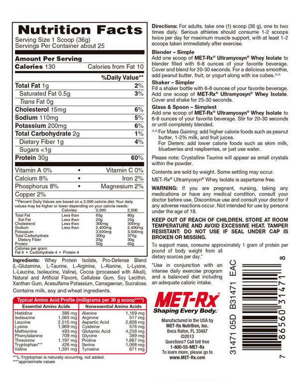 MET-Rx Whey Protein Isolate Nutrition Facts