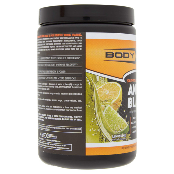 Body Fortress Amino Blast in Lemon Lime side view