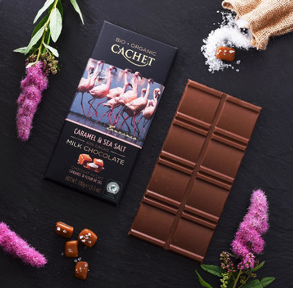 Milk chocolate 40% cacao from Tanzania with caramel and sea salt.
