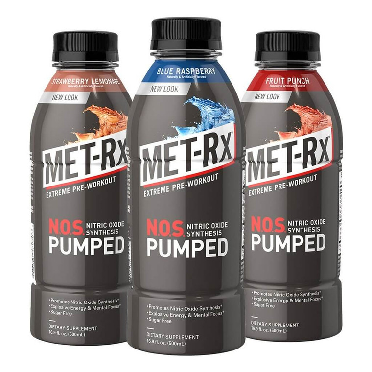 MET-Rx NOS Pumped Pre-Workout in various flavors