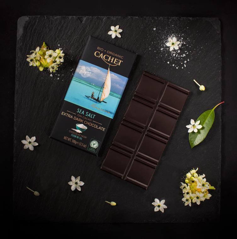 12 Bars of Cachet Dark Chocolate with Sea Salt