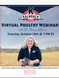 VIRTUAL POULTRY WEBINARE - TUESDAY, October 19th @ 7 PM ET.