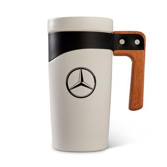 Mercedes-Benz Ceramic Travel Mug with Wood Handle, 16 oz