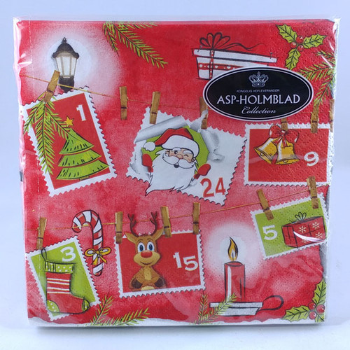 Red Christmas Napkins with Christmas stamps