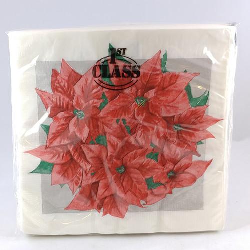 White Christmas Napkins with Poinsettas
