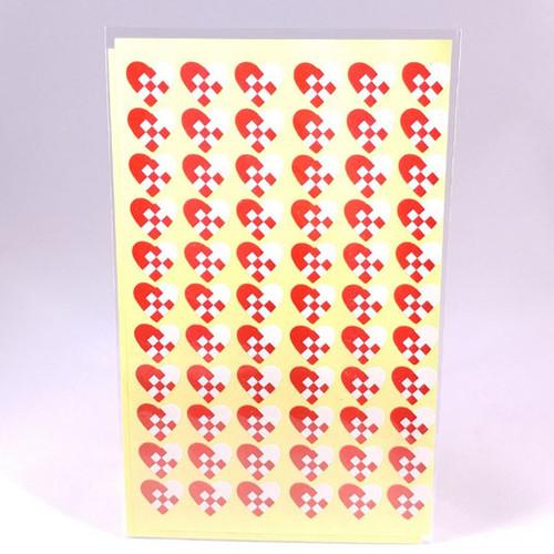 Woven heart stickers 2 sheets 66 stickers per sheet
