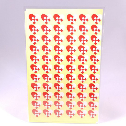 Woven heart stickers 2 sheets 66 stickers per sheet
