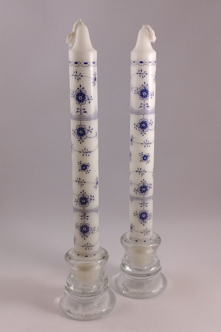 """Classic Blue Fluted pattern candle  2.3cm/24cm (1""""/9.5"""")"""