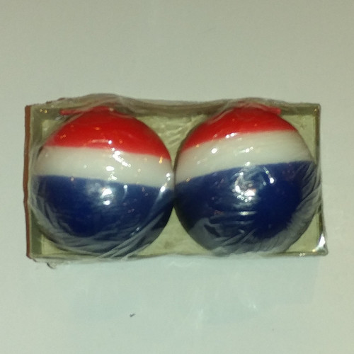 """Festive USA round candles 6cm (2.5"""") 2 to a package"""