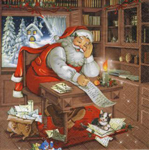 Santa reviewing the wishlist paper napkins
