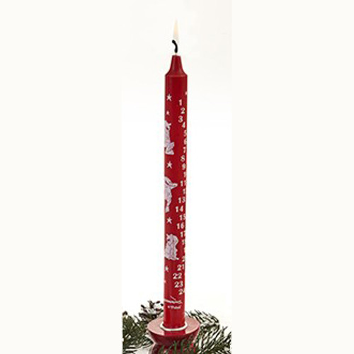 "Red advent candle with Bramming nisser in white 2.3cm/30cm (1""/12"")"