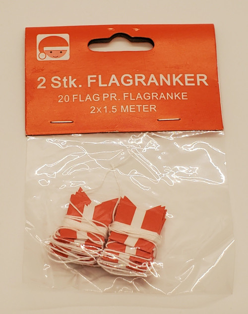 Dannebrog flag (mini) garland made paper (2 strings of 1.5m with 20 flags)