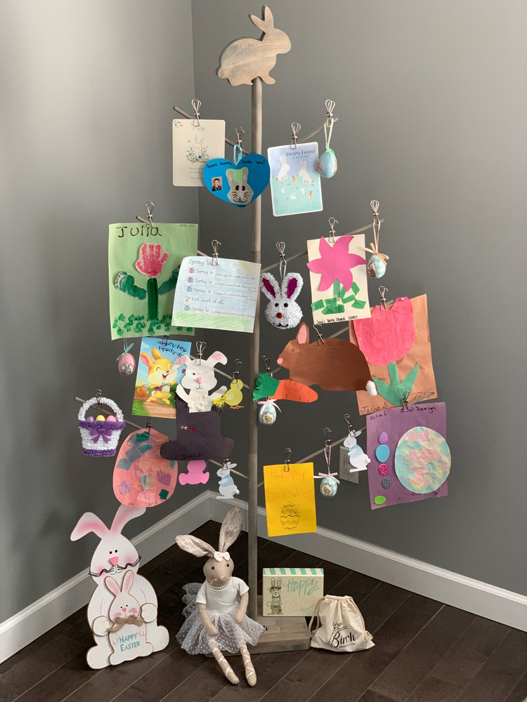 Easter Decoration, Photo, & Accessory Tree Strand Holder - with Bunny Topper - by Birch Branch