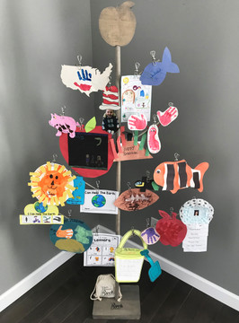 Birch Branch Card & Photo Tree Stand - with Apple Topper - Classroom Accessory, School Display, Learning Tree, Teacher's Accessory