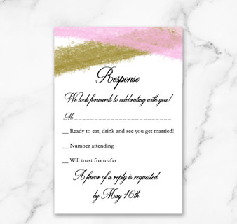 Gold & Pink Paint Strokes Response Card