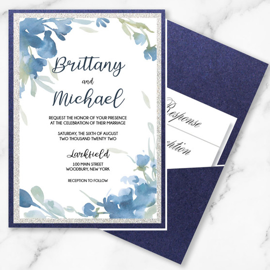 Navy Blue Watercolor Floral