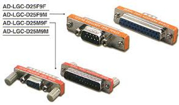 25 pin D-Sub Female to 9 pin D-Sub Female Low Profile Serial Port Adapter
