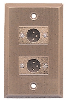 Stainless Steel Wall Plate with Two (2) XLR 3-Pin Male Microphone Connectors