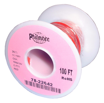 Stranded Copper Wire - 26 AWG - 100' - RED