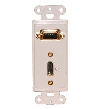 Designer Plate HDMI + VGA Solderless - WHITE