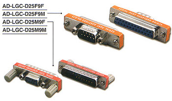 25 pin D-Sub Female to 9 pin D-Sub Female, Low Profile Serial Port Adapter