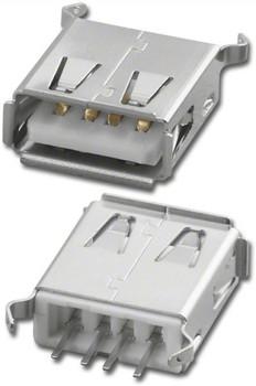"""USB """"A"""" Female PCB Vertical 180°"""