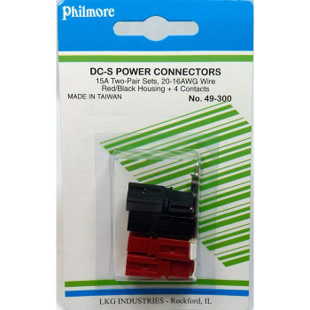 15A DC-S Power Connectors - 2x Red/Black