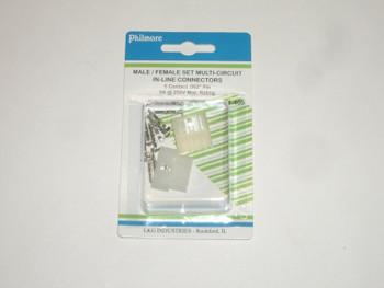 Circuit Power Plug Socket Set - 5 Pin - Male/Female Pair - .062 Pins - 5A
