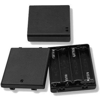 Four (4) AA Cell (UM-3) Plastic Battery Holder w/ Cover