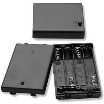 Four (4) AAA Cell (UM-4) Plastic Battery Holder w/ Cover