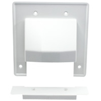2-Gang Reversible Low Voltage Cable Entrance Plate w/ Removable Lower Plate - White