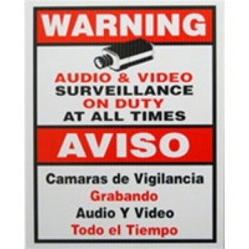 "10.5"" x 10.5"" CCTV Warning Sign, Bilingual"