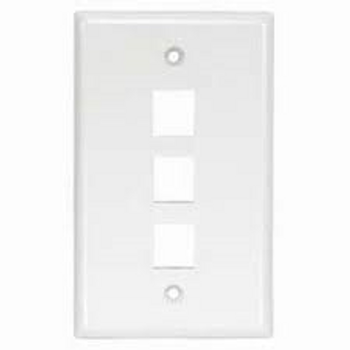3 Port White Wall Plate