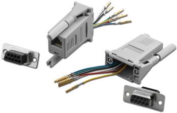 DB9/F To RJ-11 1PC Modular Adaptor Gray